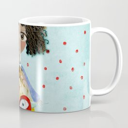 Red Bird Pet Doll Grungy Polka Dots Coffee Mug