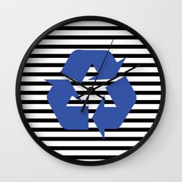 Blue Recycle Logo - Symbol on a black lines pattern Wall Clock