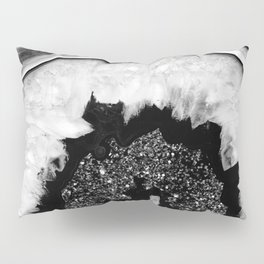 Gray Black White Agate with Black Silver Glitter #2 #gem #decor #art #society6 Pillow Sham