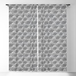 Vintage Japanese Waves, Gray / Grey and White Blackout Curtain