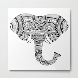 Zentangle Elephant Metal Print