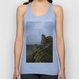 Foggy Mountaintop at Lost Mine Trail, Big Bend - Panoramic Unisex Tank Top