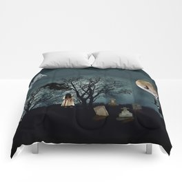 Haunted Forest Halloween Background Comforters