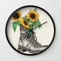 shoe Wall Clocks featuring Shoe Bouquet I by The White Deer