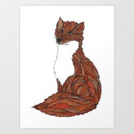 'Earthen Fox' Illustrated Geometric Line Art Fox Art Print