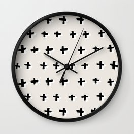 Black plus-abstract black and white pattern Wall Clock