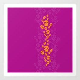 Skulls Fun - orange/pink Art Print