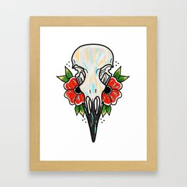 Crow Skull and Flowers Framed Art Print