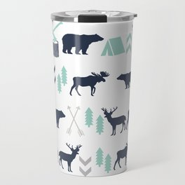Camper pattern minimal nursery basic grey navy mint white camping cabin chalet decor Travel Mug