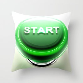 Green pushbutton to START - 3D rendering Throw Pillow