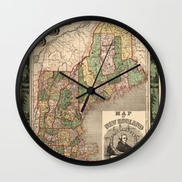 Map of New England 1847 Wall Clock