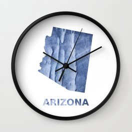 Arizona map outline Blue watercolor Wall Clock