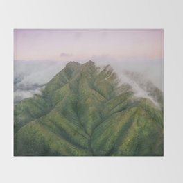 Clouds over the Koʻolau Mountains on Oahu Throw Blanket