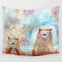 otter Wall Tapestries featuring Otter Convention by Rookery Design