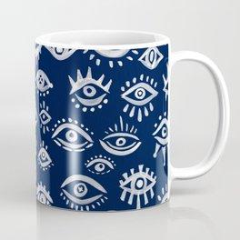 Mystic Eyes – White on Navy Coffee Mug