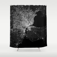 detroit Shower Curtains featuring Detroit map  by Line Line Lines