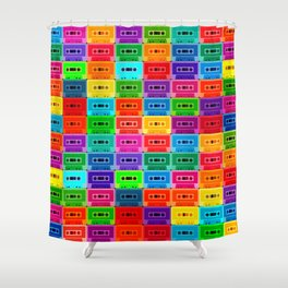 Neon Cassettes Shower Curtain