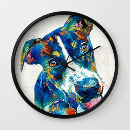 Colorful Dog Art - Happy Go Lucky - By Sharon Cummings Wall Clock