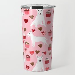 Bull Terrier white valentines day cupcakes hearts dog breed pet friendly dog gifts bull terriers Travel Mug
