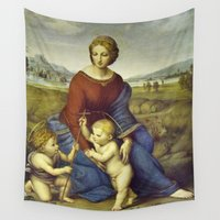 madonna Wall Tapestries featuring Madonna of the Meadows by Raphael by Palazzo Art Gallery