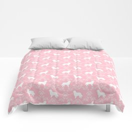 Bernese Mountain Dog florals dog pattern minimal cute gifts for dog lover silhouette pink and white Comforters