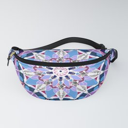 blue grey white pink purple mandala Fanny Pack