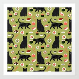 Black cat sushi cat breeds cat lover pattern art print cat lady must have Art Print