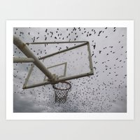 Birds and Basket Art Print