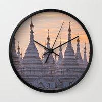 buddhism Wall Clocks featuring Sandamani Pagoda, Mandalay, Myanmar by Maria Heyens