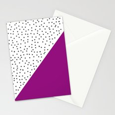 Geometric grey and purple design Stationery Cards
