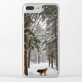 Dog exploring a snowy forest Clear iPhone Case