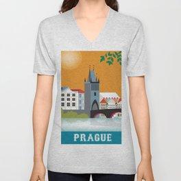 Prague, Czech Republic - Skyline Illustration by Loose Petals Unisex V-Neck