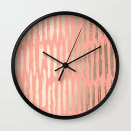 Vertical Dash Tahitian Gold on Coral Pink Stripes Wall Clock