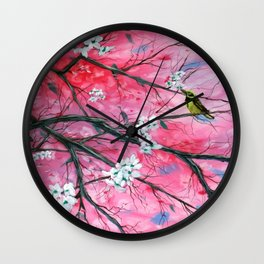 Finch Amongst the Cherry Blossoms Wall Clock