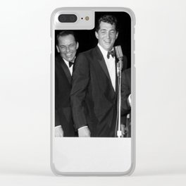 Peter Lawford, Frank Sinatra, Dean Martin, Sammy Davis Jr. and Joey Bishop singing from cue cards. Clear iPhone Case