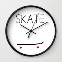 skate Wall Clocks featuring Skate by short stories gallery