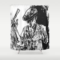 gangster Shower Curtains featuring One Armed Gangster by Rhys Prosser