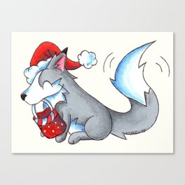 Secret Santa Wolf Canvas Print