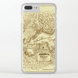 Vintage Yosemite Map 1870 Clear iPhone Case