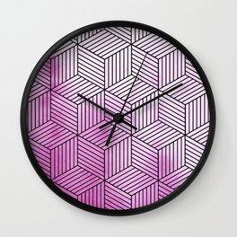Cubism Lilac Watercolor Wall Clock