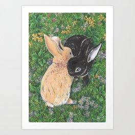 Baby bunnies cuddling Art Print