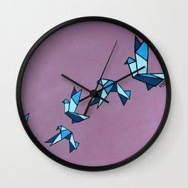 Origami Paper Birds Wall Clock