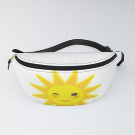 funny cartoon yellow sun smiling and winking eyes and pink cheeks, sun on white background Fanny Pack