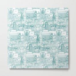 Edinburgh toile teal white Metal Print