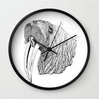 walrus Wall Clocks featuring Walrus by MattLeckie