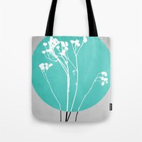 decal Tote Bags featuring Abstract Flowers 1 by Mareike Böhmer