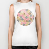 bedding Biker Tanks featuring Silver Grey, Soft Pink, Wood & Gold Moroccan Pattern by micklyn