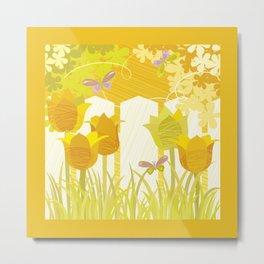 Sunny Spring Garden Metal Print