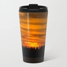 Cloudy Sunset With Forest Line - Scenic Landscape - #society6 #decor #buyart Metal Travel Mug