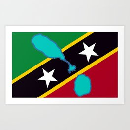St. Kitts and Nevis Flag with Island Maps Art Print